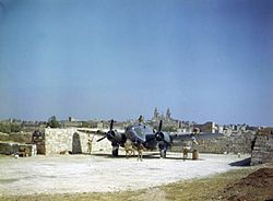 The Royal Air Force base at Luqa during World War II, with the village in the background