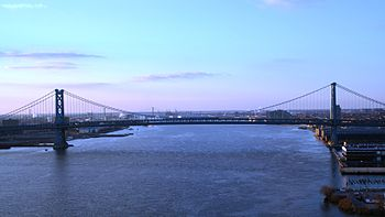 Benjamin Franklin Bridge linking Camden, NJ wi...