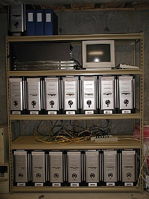Computer cluster - A simple, home-built Beowulf cluster.