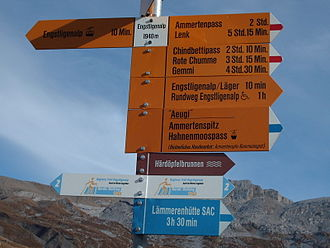 Trail blazing - Painted Marker in Switzerland - identical to the widespread Czech markers