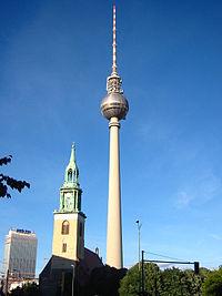 The Berliner Fernsehturm seen from a distance.
