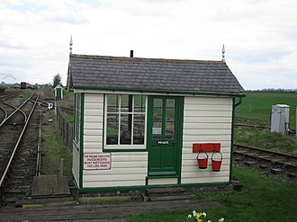 Berney Arms railway station - The former Berney Arms signal box, preserved at Mangapps Railway Museum in Essex