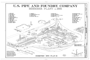Bessemer Plant c. 1995 - United States Pipe and Foundry Company Plant, 2023 St. Louis Avenue at I-20-59, Bessemer, Jefferson County, AL HAER ALA,37-BES,6- (sheet 4 of 16).png