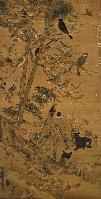 Three Friends of Winter - Three Friends and a Hundred Birds by Bian Wenjin, Ming dynasty