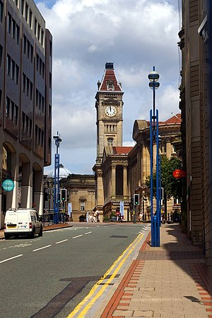 Noon - A clock tower in Birmingham, England, showing 12 o'clock noon