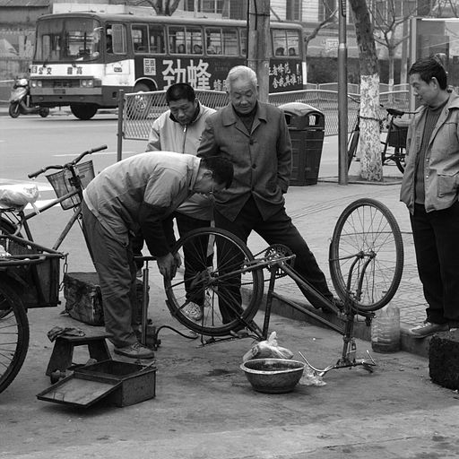 Bike repair in the street