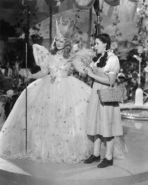 Glinda the Good Witch - Dorothy (Judy Garland, right) with Glinda, the Good Witch of the North (Billie Burke) in The Wizard of Oz, 1939.