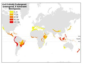 "Map shows biodiversity ""hotspots"" as..."