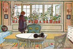 Carl Larsson: Flowers on the Windowsill. From A Home (26 watercolours)