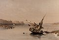 Boat approaching the fortress of Ibrim, Egypt. Coloured lith Wellcome V0049329.jpg