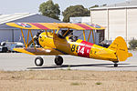 Boeing E75 Stearman (VH-SXT) parked in the general aviation area at Wagga Wagga Airport.jpg
