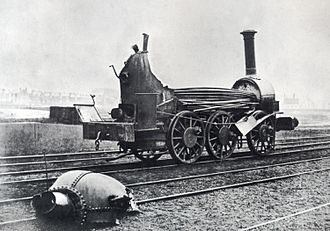 Boiler explosion - Aftermath of a boiler explosion on a railway locomotive circa 1850.