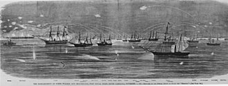 USS Pocahontas (1852) - Illustration of attack on Port Royal, South Carolina, 7 November 1861. Pocahontas is seen in the right foreground.