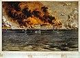 Bombardement de Fort Sumter, gravure sur acier colorée à la main