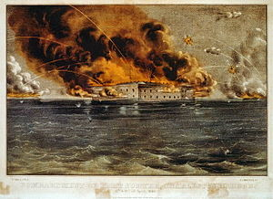 Artwork depicting a battle scene with a stone fort at center surrounded by water. The fort is on fire and shells explode in the air above it.