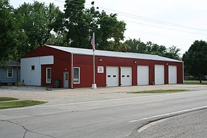 Illinois Route 10 - A view of the Bondville, Illinois fire station looking south west across Illinois Route 10.