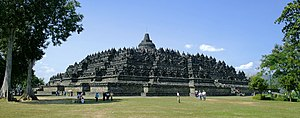 Borobudur temple view from northeast plateau, Central Java, Indonesia.
