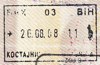 Kostajnica, Bosnia and Herzegovina - Passport stamp bearing just the name Kostajnica.