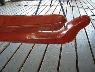 South Lake Union, Seattle - Bow of a traditional-style kayak; Center for Wooden Boats, South Lake Union, 2007.