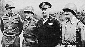 Operation Queen - (from left to right) Bradley, Gerow, Eisenhower and Collins