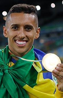 Brasil conquista primeiro ouro olímpico nos penaltis 1039278-20082016- mg  4916 (cropped). Marquinhos celebrating the gold medal with Brazil at ... daf65fcf26f0a
