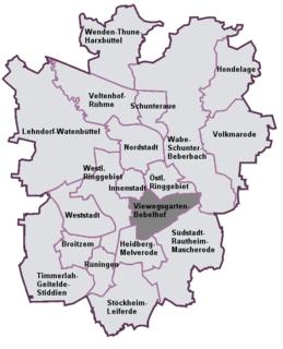 Viewegsgarten-Bebelhof Stadtbezirk of Braunschweig in Lower Saxony, Germany