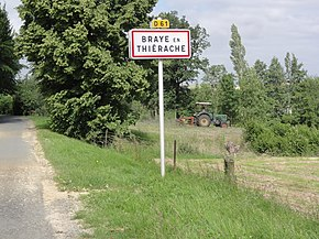 Braye-en-Thiérache (Aisne) city limit sign.JPG