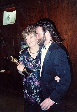 Brenda Fricker - Fricker (left) holding her Academy Award in 1990