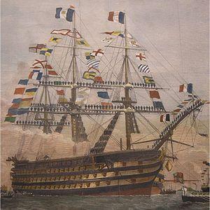 French ship Bretagne (1855) - Image: Bretagne painting detail