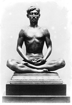 Dhyana in Hinduism - A statue of a meditating man (Kashmir, India).