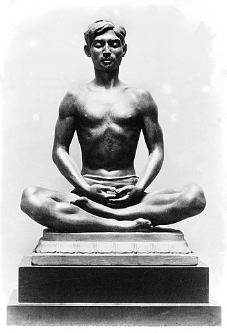 Yoga (philosophy) - A statue of a man in yoga posture (Kashmir, India)