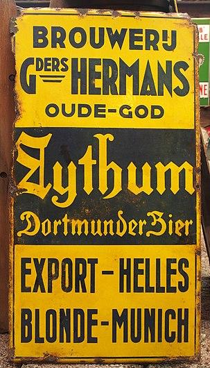 Brouwerij Gebroeders Hermans, Zythum Dortmunder Bier enamel advertising sign.JPG