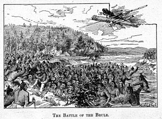 Kechewaishke - This image of the Battle of the Brule appeared in the 1891 memoirs of Buffalo's adopted son and personal interpreter, Benjamin Armstrong. Armstrong describes being present at this major defensive victory for Buffalo's Ojibwa over a Dakota war party.