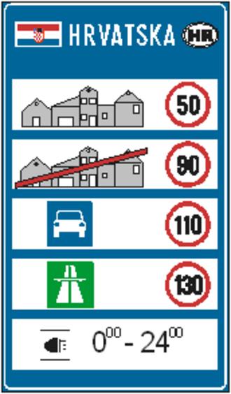 Speed limits in Croatia - Image: Brzineuhrvatskoj
