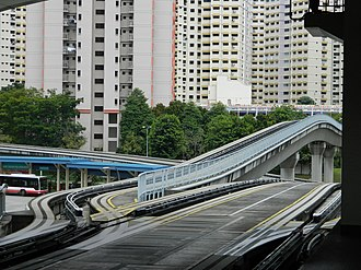 Bukit Panjang MRT/LRT station - Crossover. The lower track will go to Senja, and the higher will go to Petir.