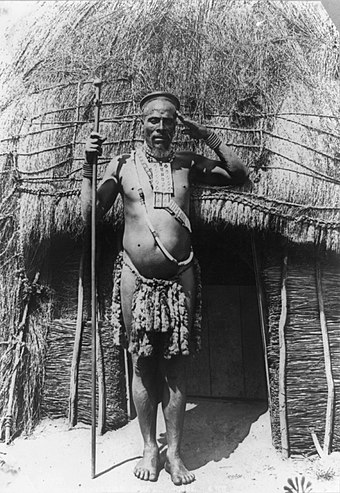 An inhabitant of Bulawayo, pictured in 1890 Bulawayo native c1890 large.jpg