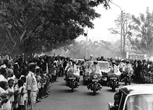 Niger - President Hamani Diori and visiting German President Dr. Heinrich Lübke greet crowds on a state visit to Niamey, 1969. Diori's single party rule was characterized by good relations with the west and a preoccupation with foreign affairs.