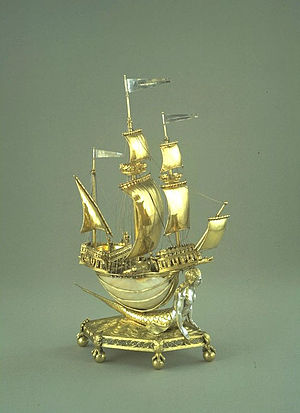 Silver-gilt - The Burghley Nef, silver-gilt (with sections ungilded), and nautilus shell, 1527-1528, France, V&A Museum.