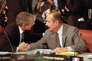 Jacques Chirac's second term as President of France - President Chirac and United States President George W. Bush talk over issues during the 27th G8 summit, 21 July 2001.