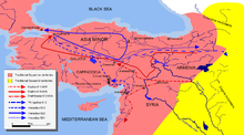 This map shows the approximate campaign paths of Persian and Roman Generals from 611 – 624 as described in the text.