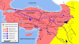 Shahrbaraz - Campaign map from 611 to 624 through Syria, Anatolia, Armenia, and Mesopotamia.