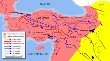 This map shows the approximate campaign paths of Persian and Roman Generals from 611–624 as described in the text.