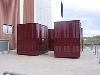Pad-mounted transformer - Large pad-mount transformers supplying power to a computer data center. No live wires are exposed.