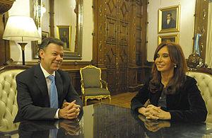 CFK y Juan Manuel Santos