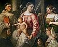 Ca' Rezzonico - Madonna col Bambino e i Santi Antonio da Padova e Caterina d'Alessandria con i tre donatori (Inv.13) - Giovanni Cariani.jpg