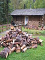 Cabin and woodpiles, Chena Hot Springs.jpg