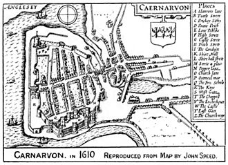 Gothic secular and domestic architecture - Image: Caernarfon.1610