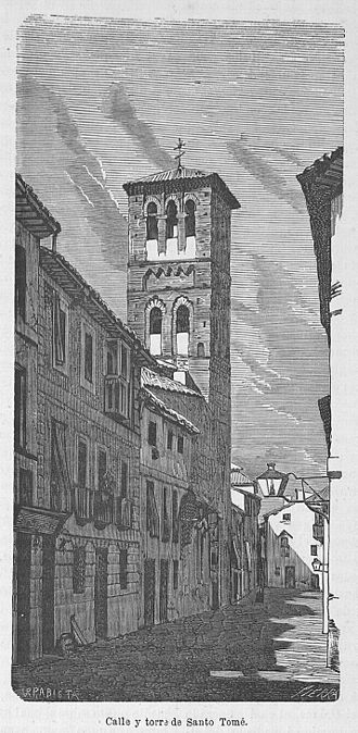 Iglesia de Santo Tomé, Toledo - Drawing of the street and tower of Santo Tomé in 1866.