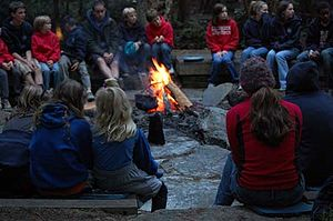 English: Campfire at fire ring, Canoe Island