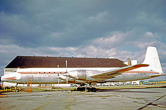 Canadair CL-44 - Canadair CC-106 of Societe Generale d'Alimentation (Zaire) at Montreal (Dorval) Airport in 1973 wearing remnants of its RCAF markings